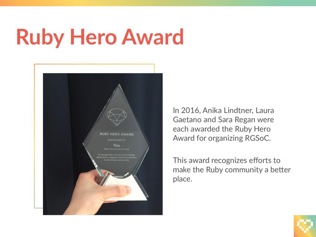Ruby Hero Award In 2016, Anika Lindtner, Laura ...
