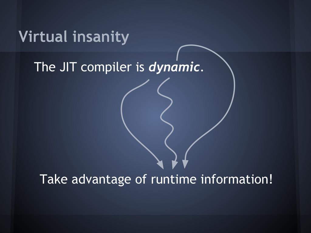 Virtual insanity The JIT compiler is dynamic. T...