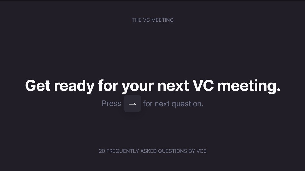 THE VC MEETING Get ready for your next VC meeti...
