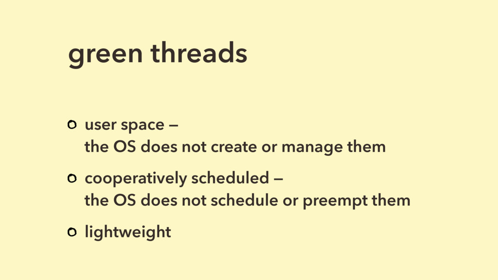 green threads user space — 