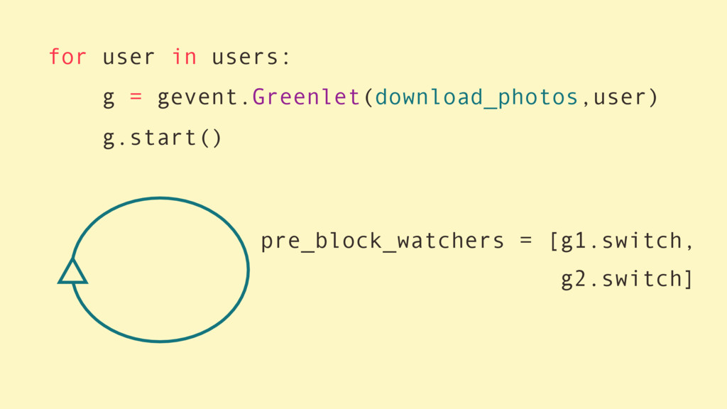 for user in users: g = gevent.Greenlet(download...