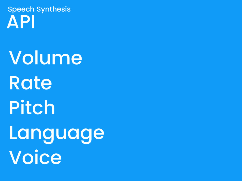 API Speech Synthesis Volume Rate Pitch Language...