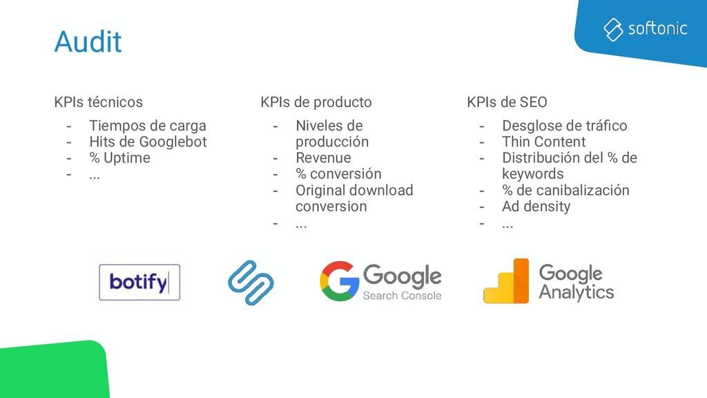 Audit KPIs técnicos - Tiempos de carga - Hits d...