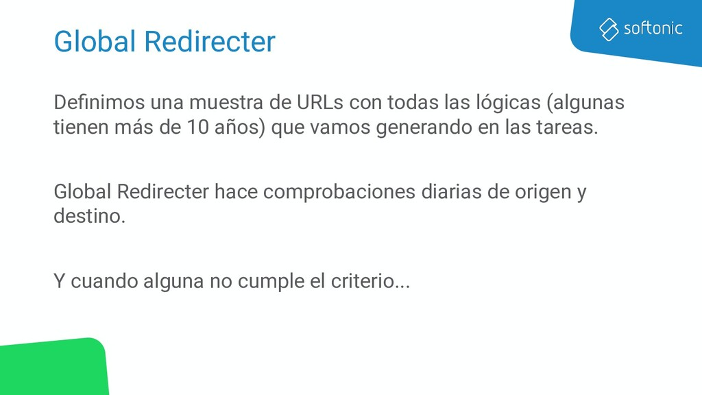 Global Redirecter Definimos una muestra de URLs ...