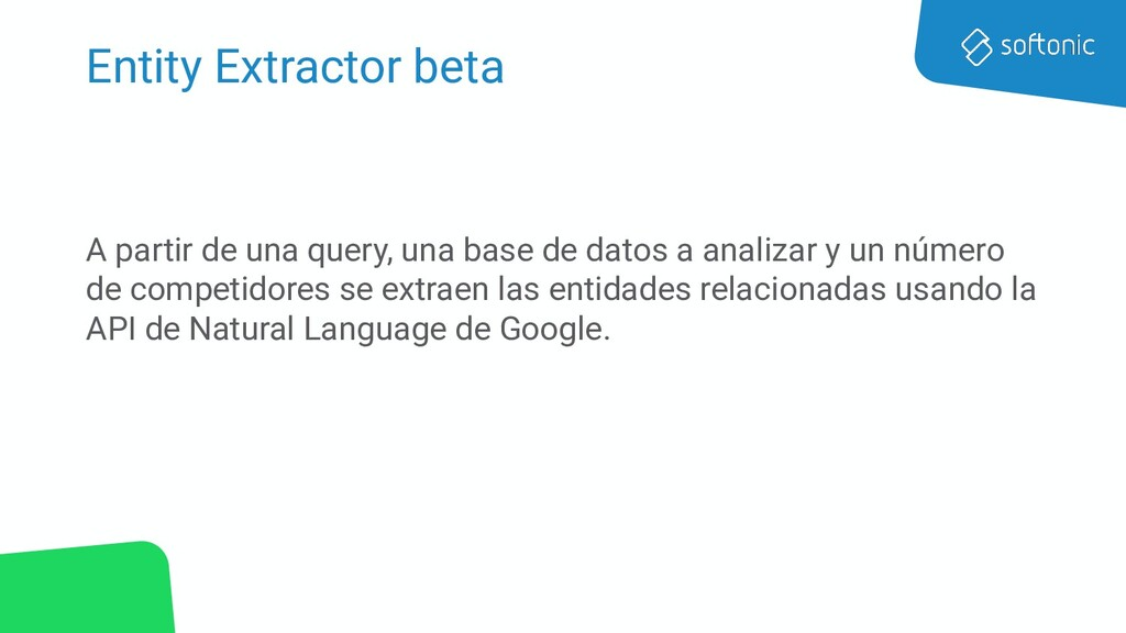 Entity Extractor beta A partir de una query, un...