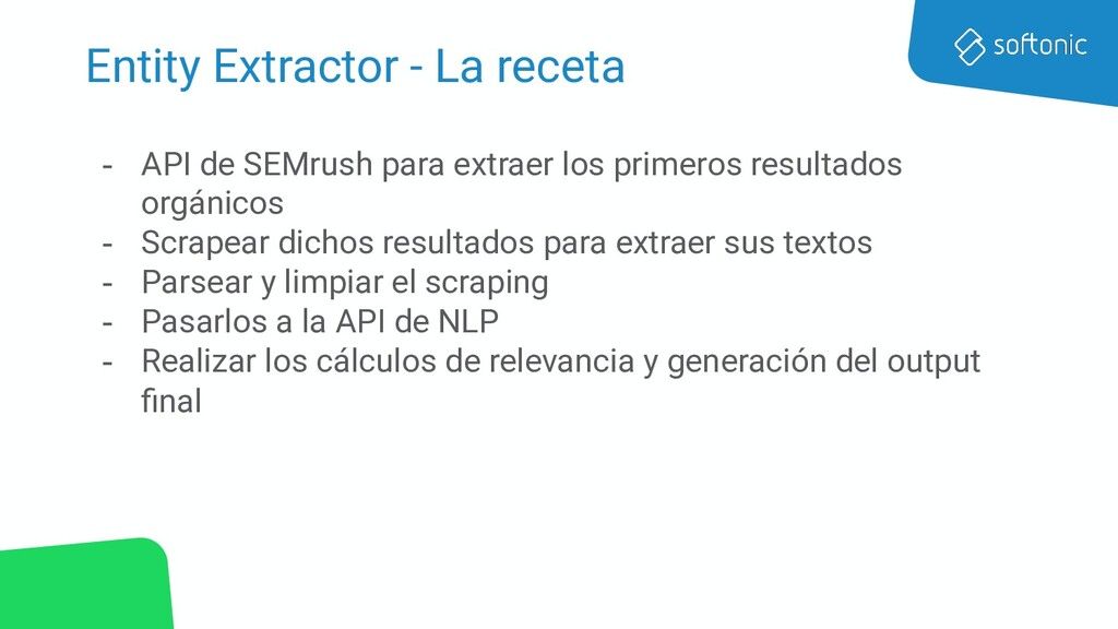 Entity Extractor - La receta - API de SEMrush p...