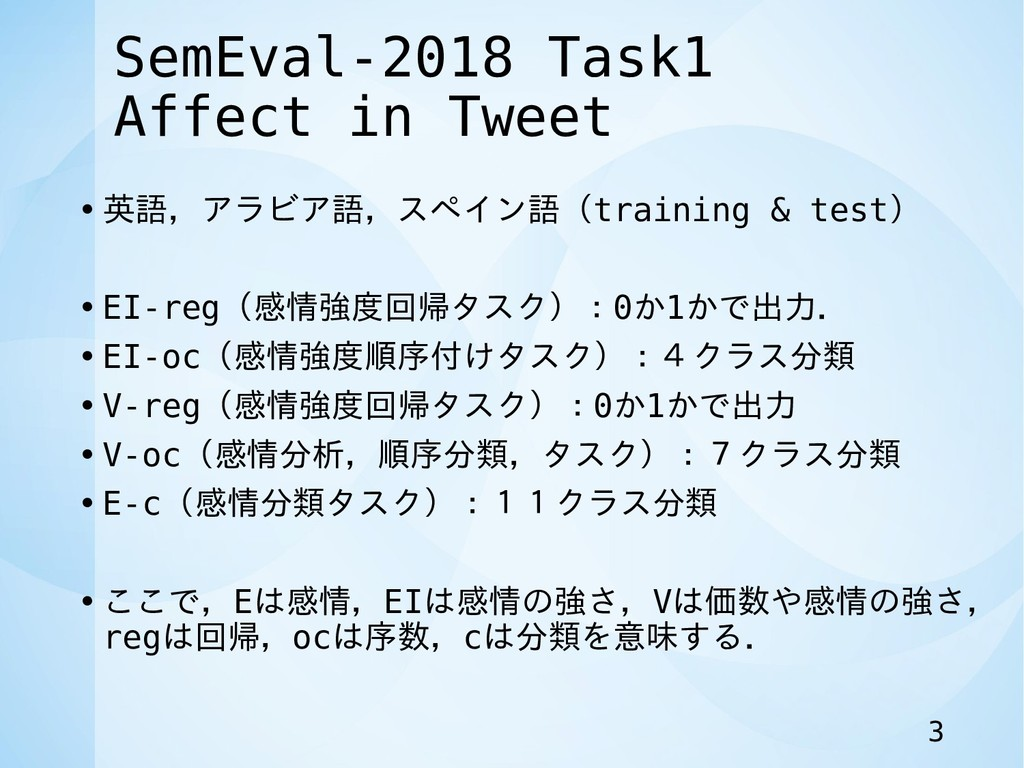 SemEval-2018 Task1 Affect in Tweet • 英語,アラビア語,ス...
