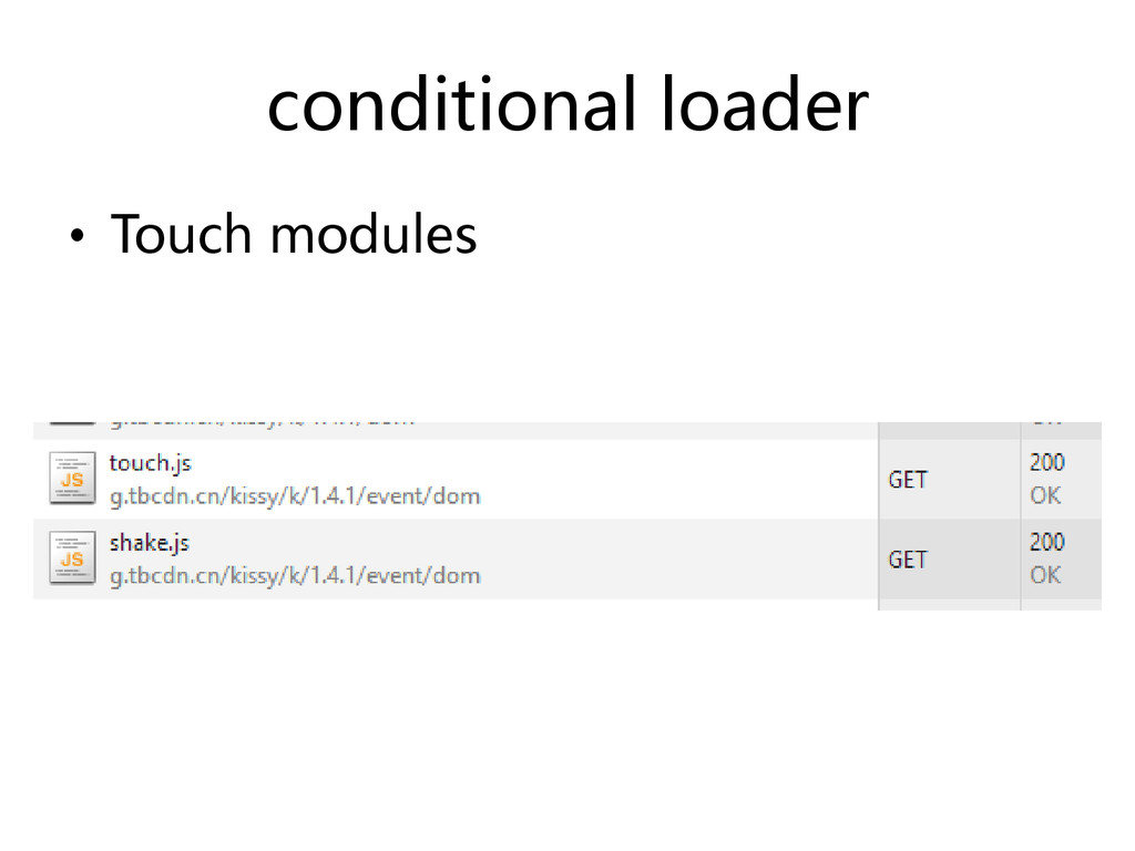 conditional loader • Touch modules