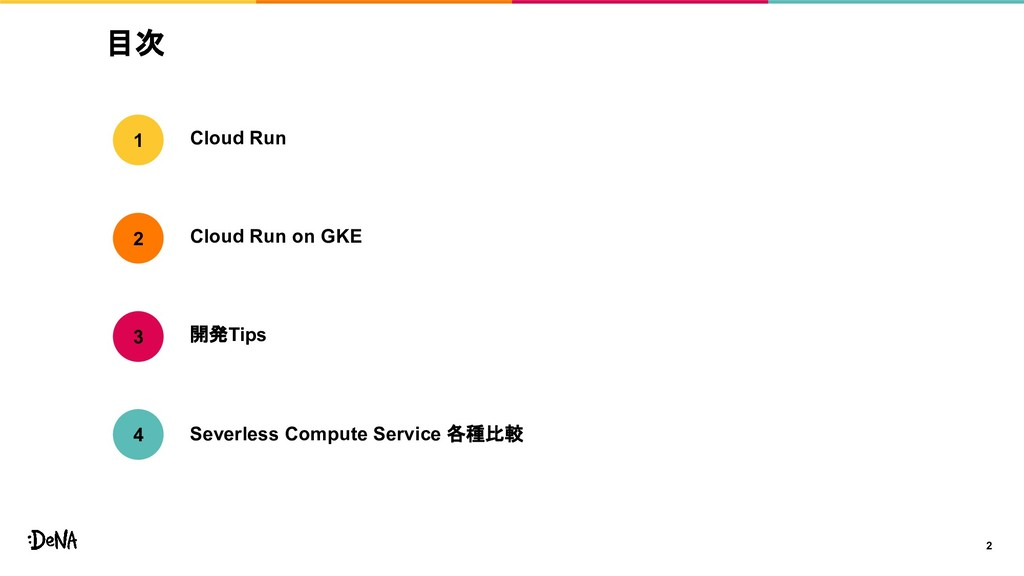 目次 2 Cloud Run Cloud Run on GKE 開発Tips 1 2 3 Se...