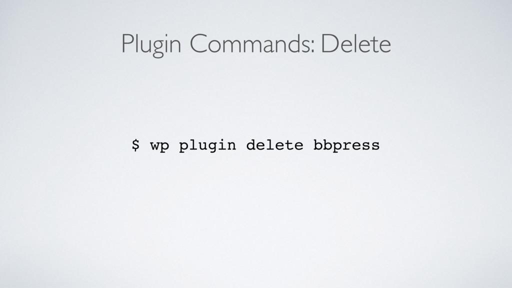 Plugin Commands: Delete $ wp plugin delete bbpr...