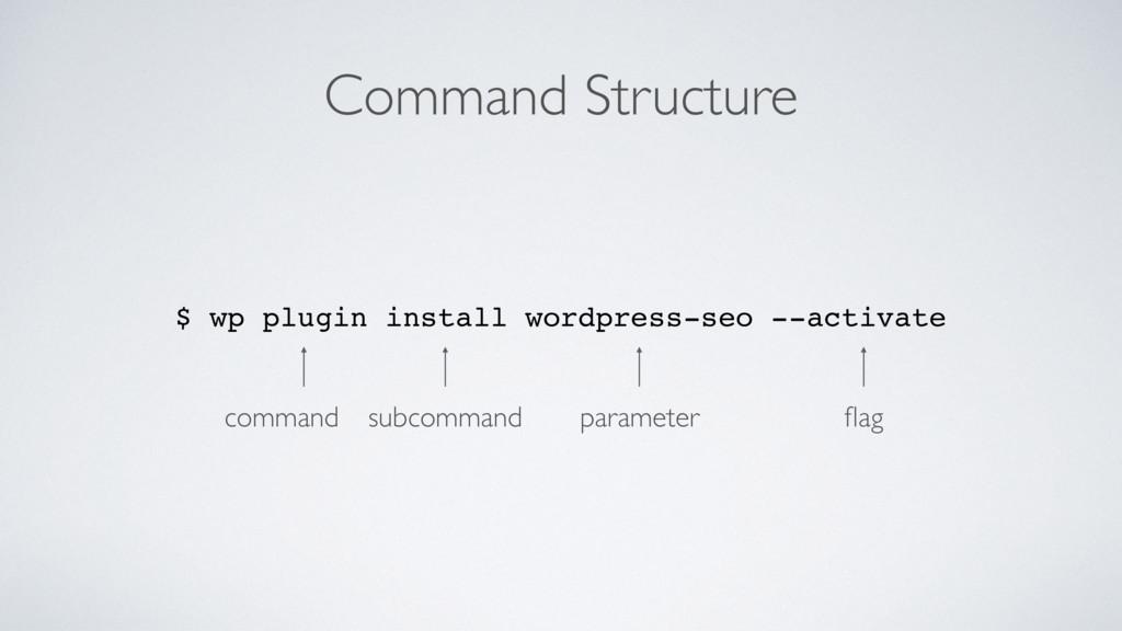 Command Structure $ wp plugin install wordpress...