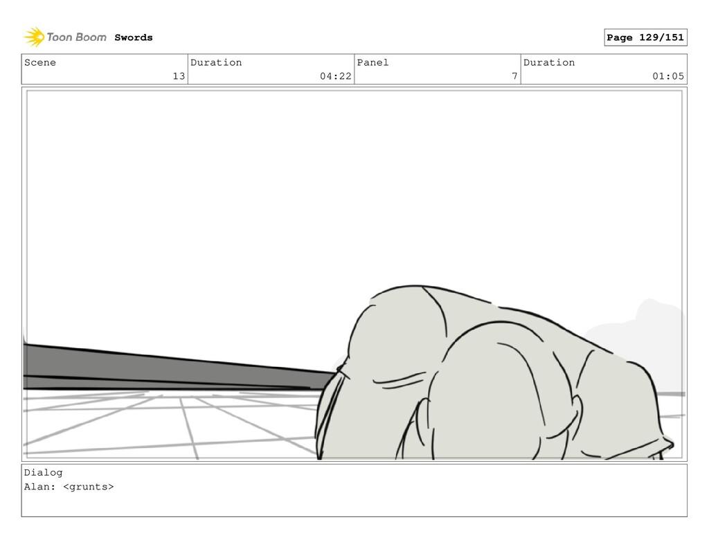 Scene 13 Duration 04:22 Panel 7 Duration 01:05 ...