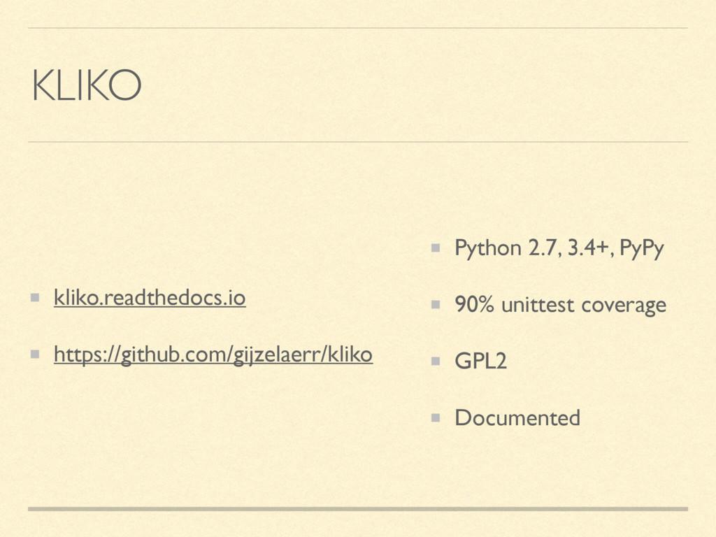 KLIKO kliko.readthedocs.io https://github.com/g...