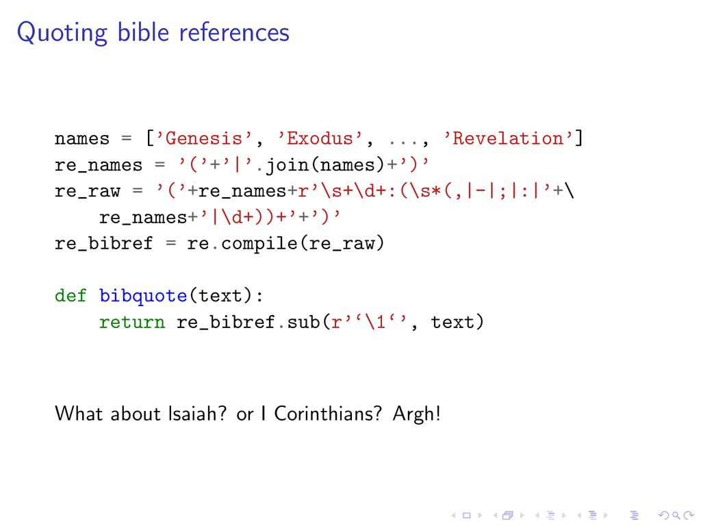 Quoting bible references names = ['Genesis', 'E...