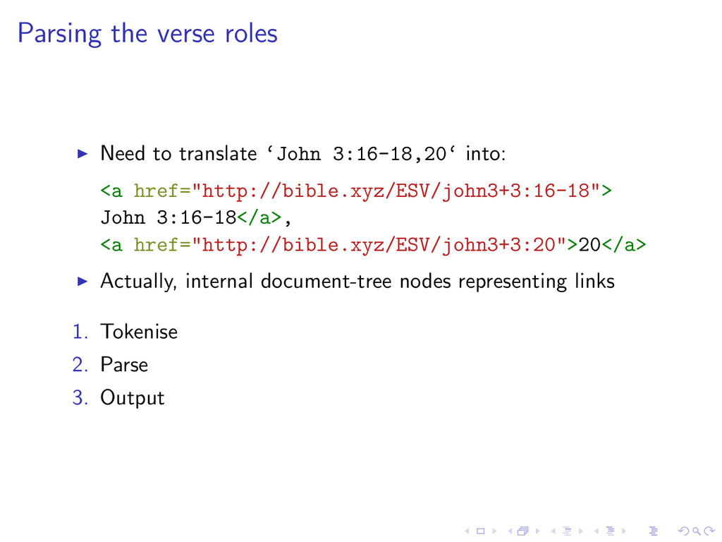Parsing the verse roles Need to translate 'John...