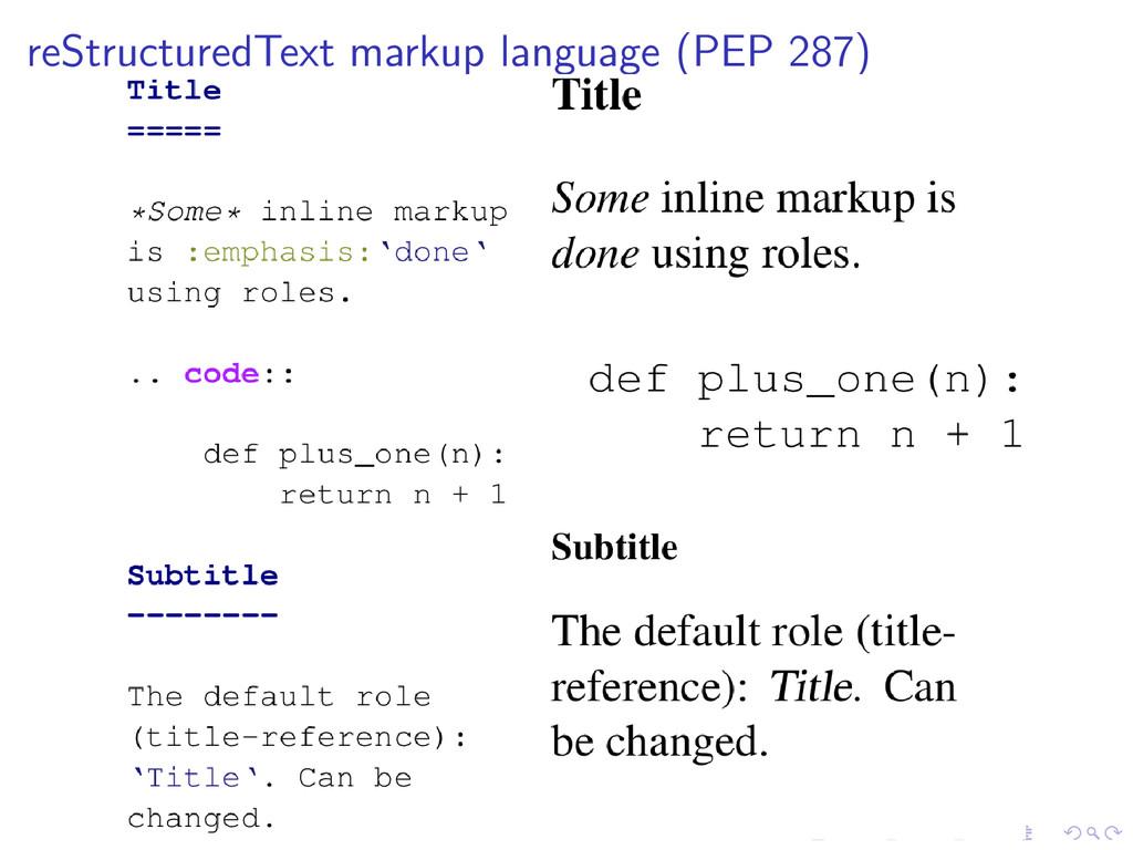 reStructuredText markup language (PEP 287)