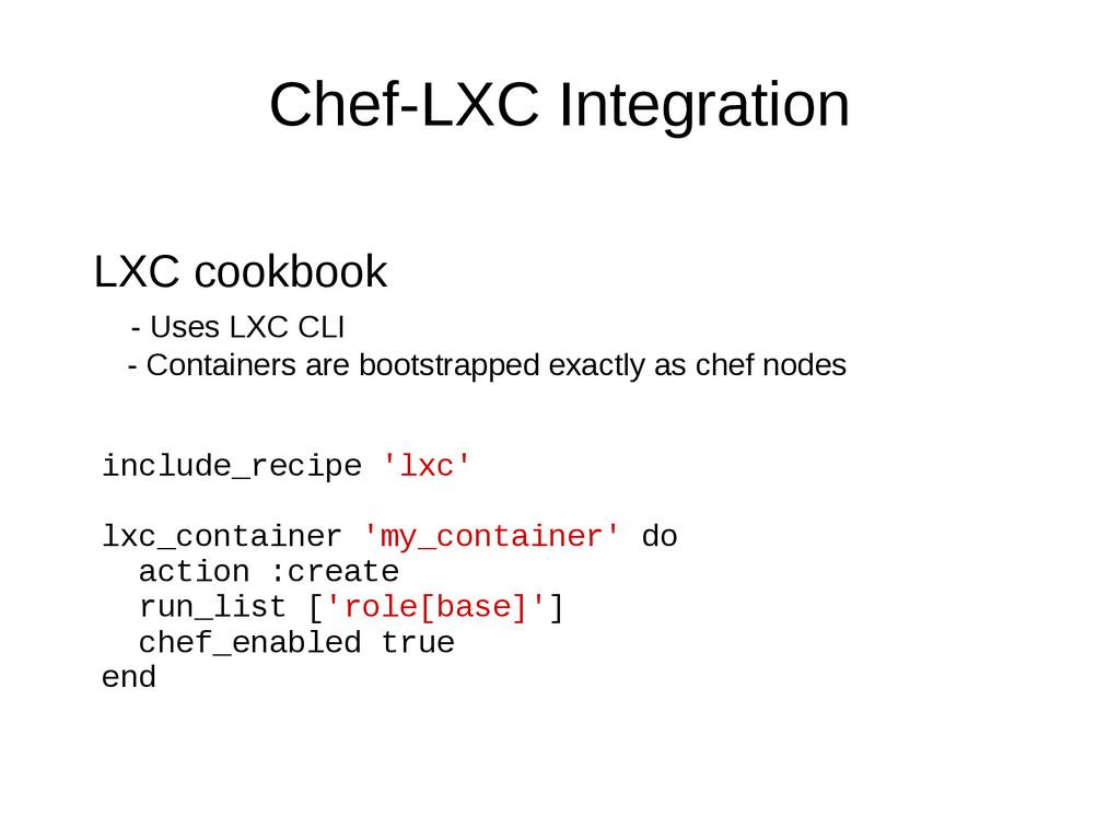 Chef-LXC Integration LXC cookbook - Uses LXC CL...