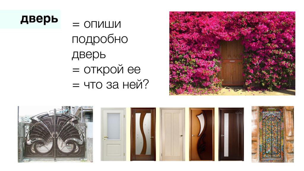 дверь = опиши подробно дверь = открой ее = что ...