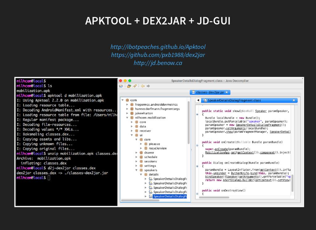 APKTOOL + DEX2JAR + JD-GUI http://ibotpeaches.g...