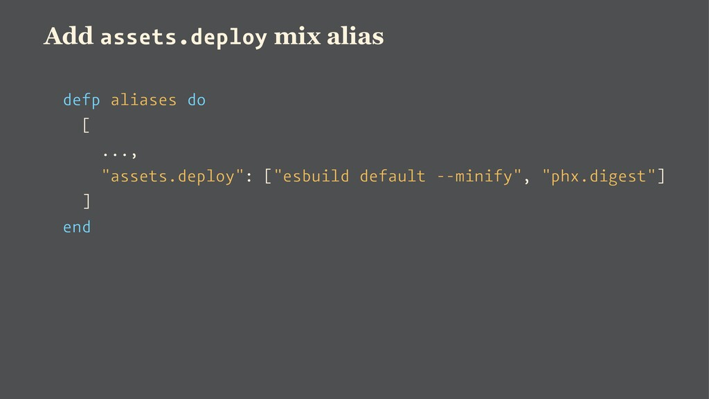 Add assets.deploy mix alias defp aliases do [ ....