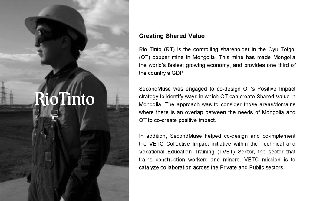 Creating Shared Value Rio Tinto (RT) is the con...