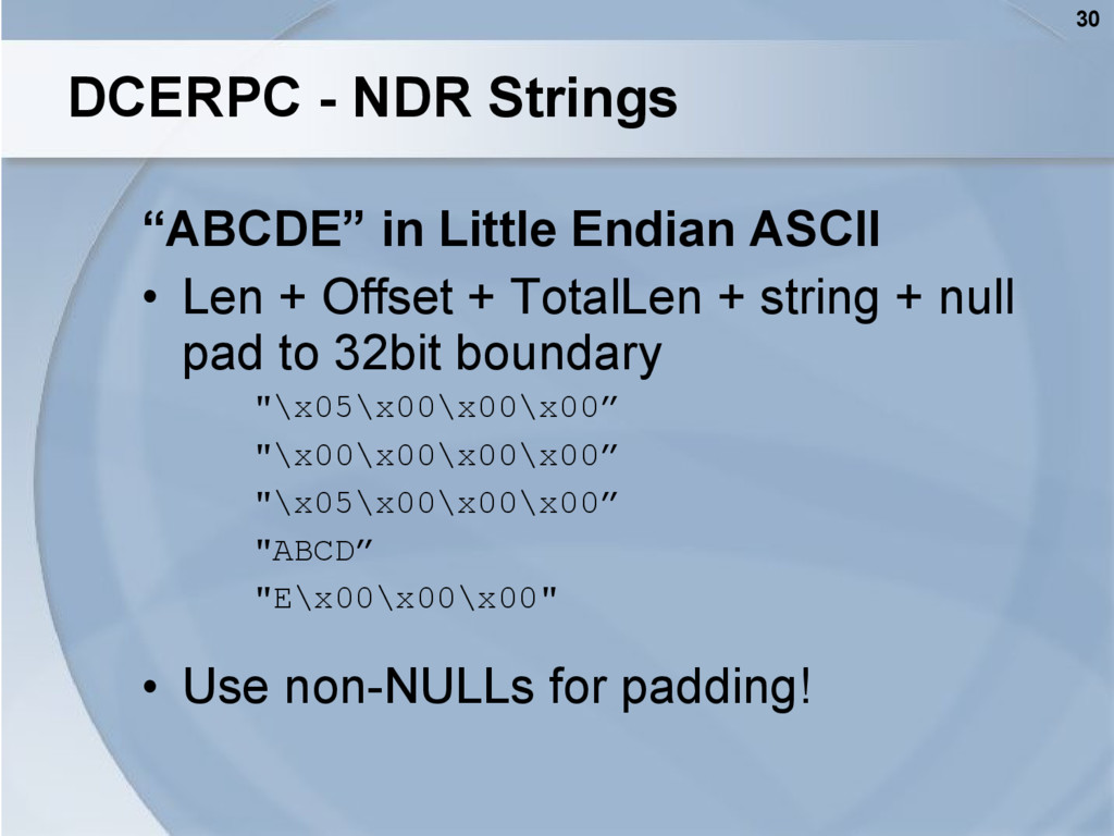 "30 DCERPC - NDR Strings ""ABCDE"" in Little Endia..."