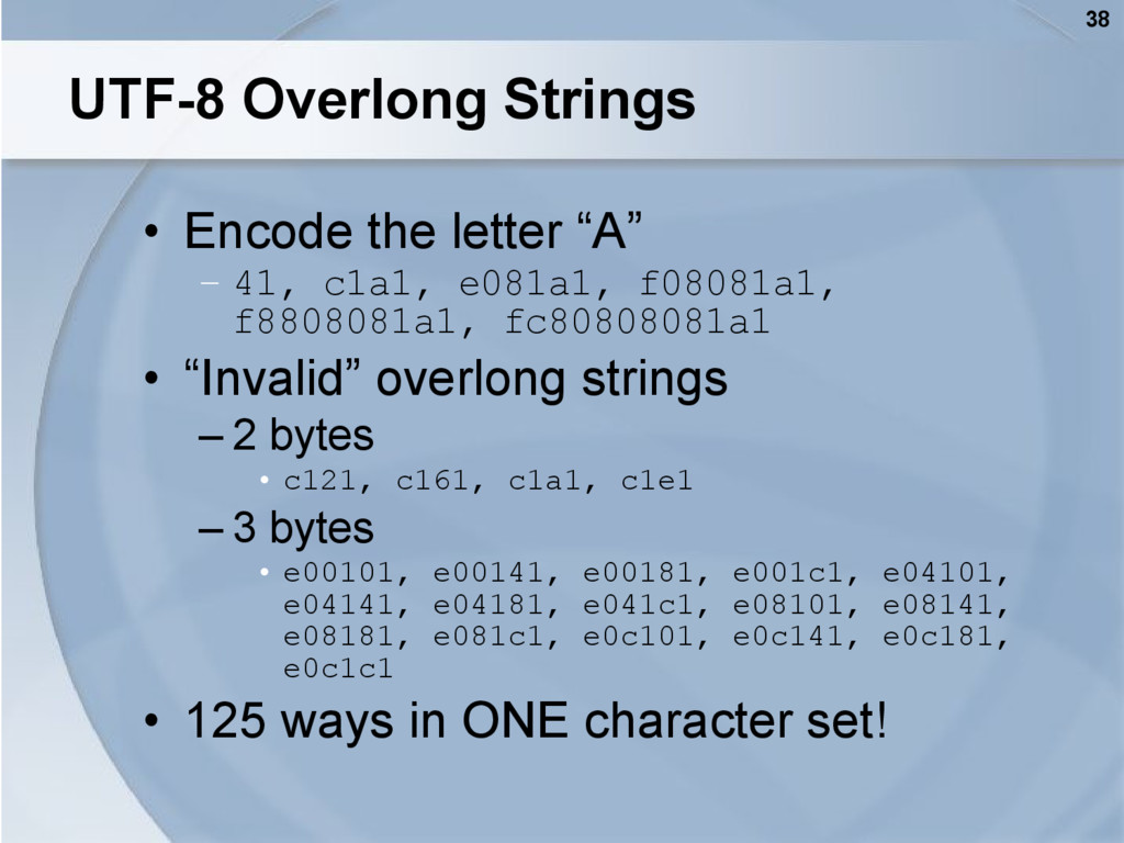 "38 UTF-8 Overlong Strings • Encode the letter ""..."