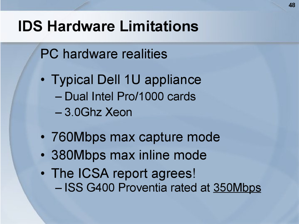 48 IDS Hardware Limitations PC hardware realiti...