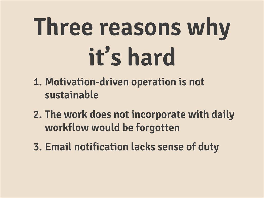 Three reasons why it's hard 1. Motivation-drive...