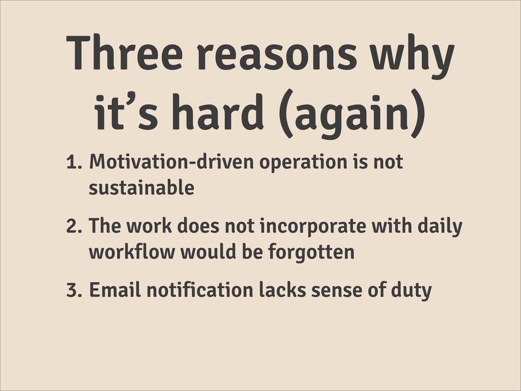 Three reasons why it's hard (again) 1. Motivati...