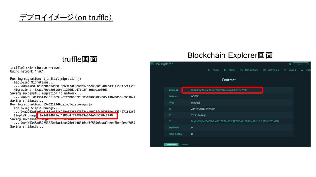 デプロイイメージ(on truffle) truffle画面 Blockchain Explo...