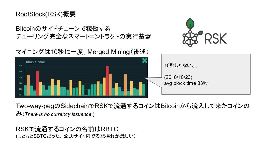 RootStock(RSK)概要 Bitcoinのサイドチェーンで稼働する チューリング完全な...