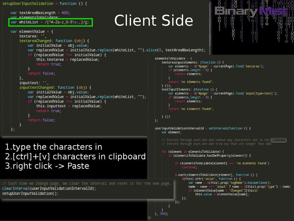Client Side 1.type the characters in 2.[ctrl]+[...