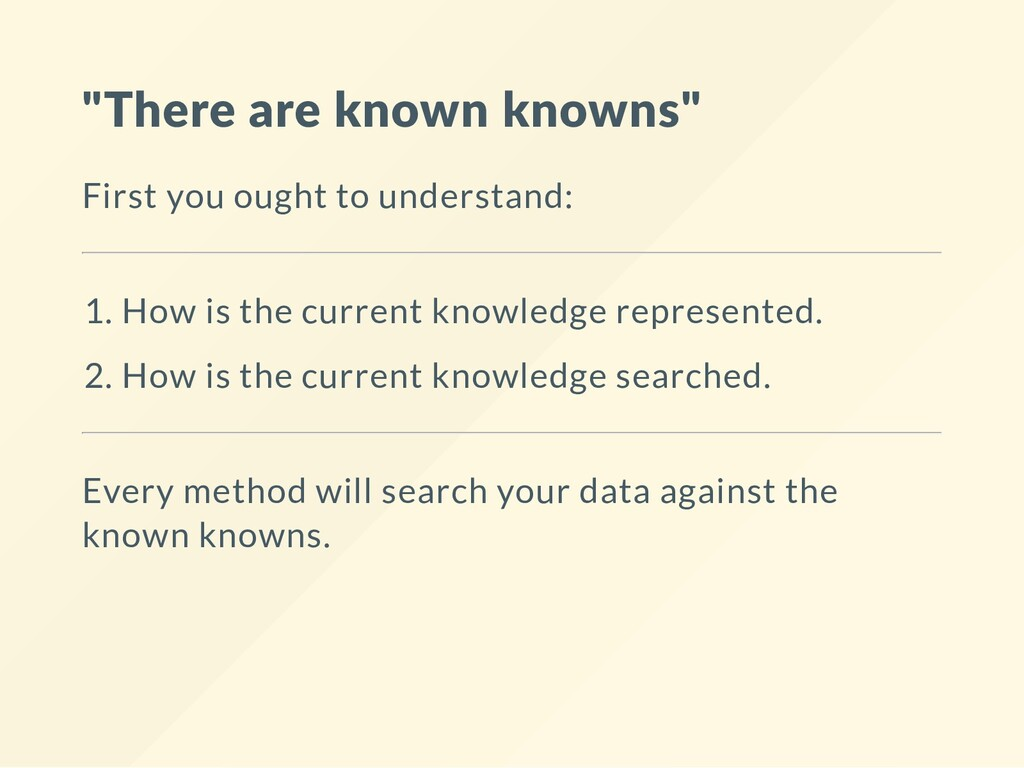 """There are known knowns"" First you ought to und..."