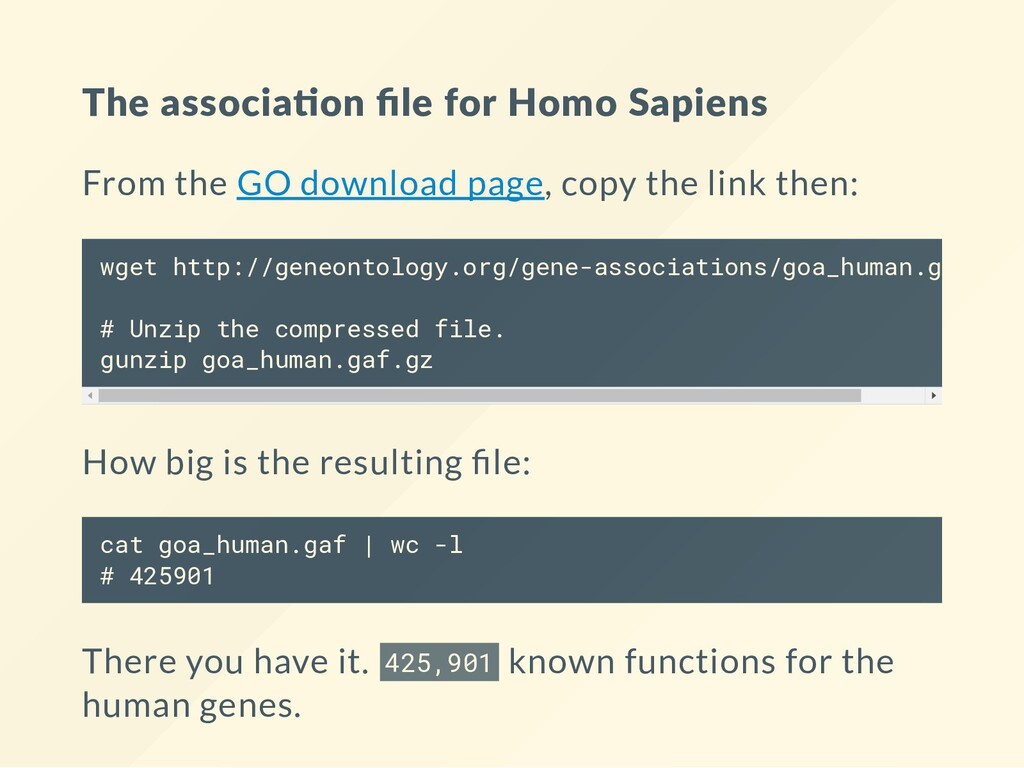 The associa on file for Homo Sapiens From the GO...