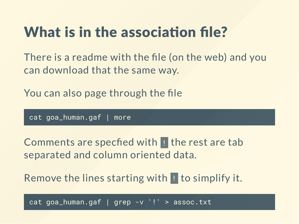 What is in the associa on file? There is a readm...