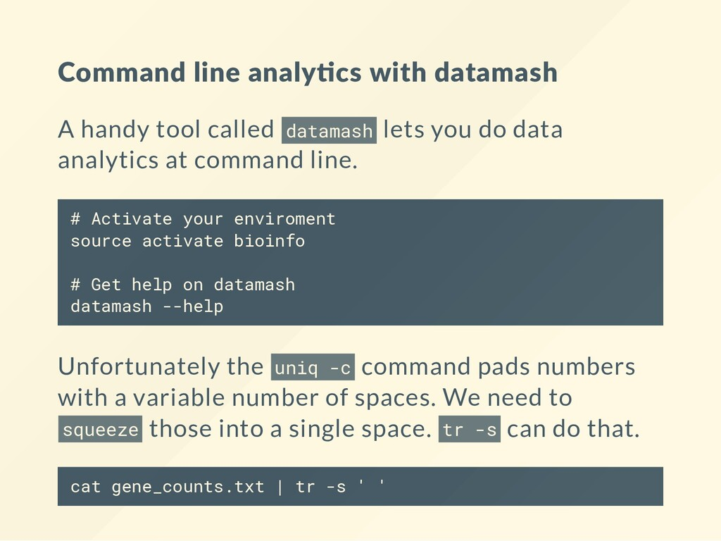 Command line analy cs with datamash A handy too...