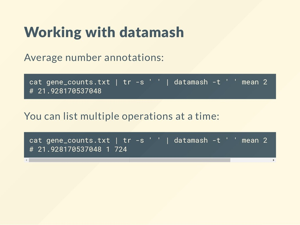 Working with datamash Average number annotation...