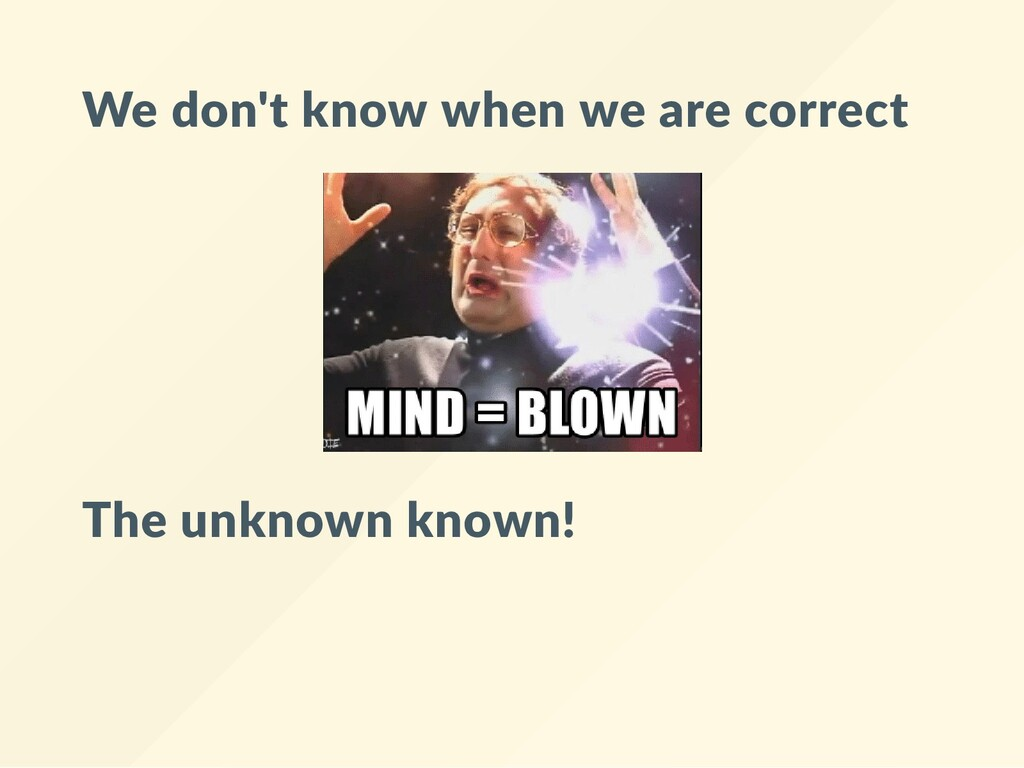 We don't know when we are correct The unknown k...