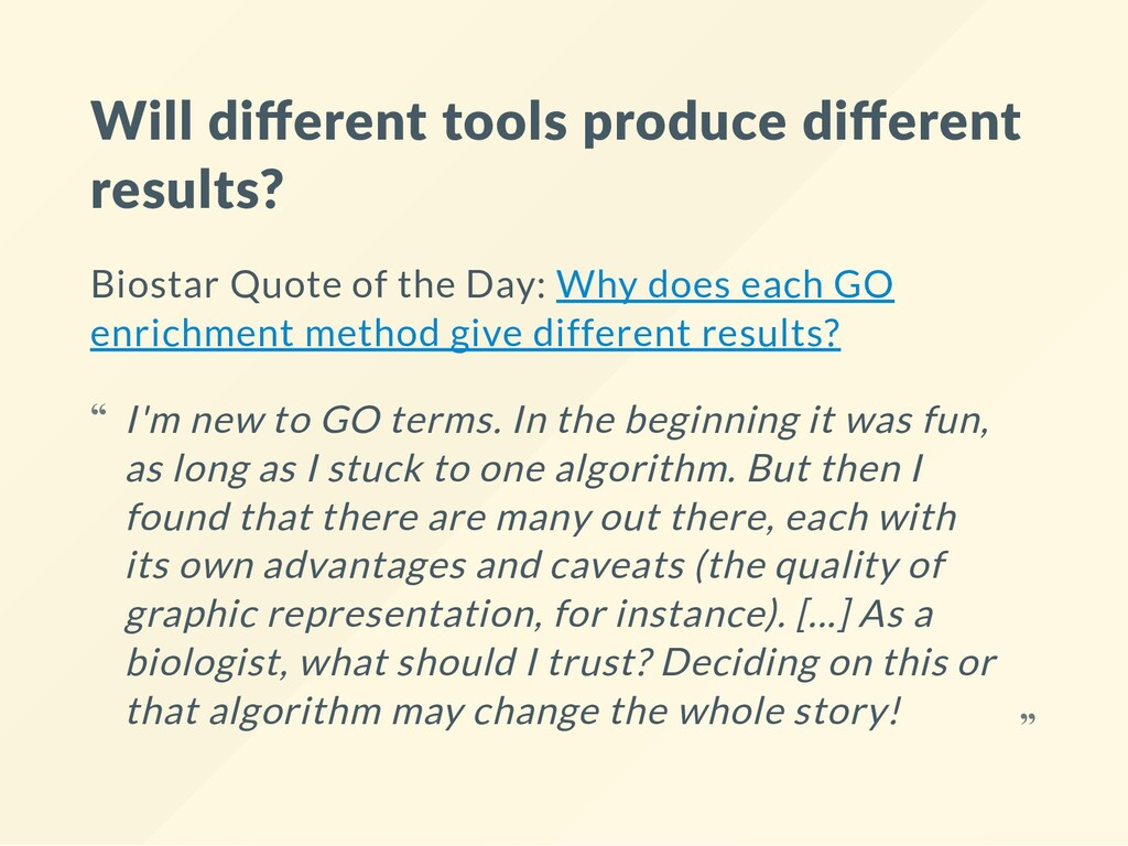 Will different tools produce different results? B...