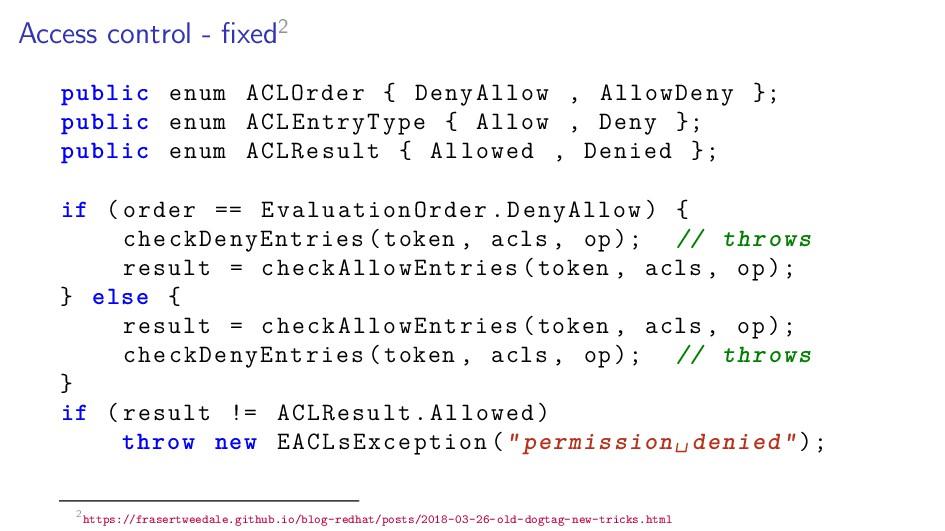 Access control - fixed2 public enum ACLOrder { D...
