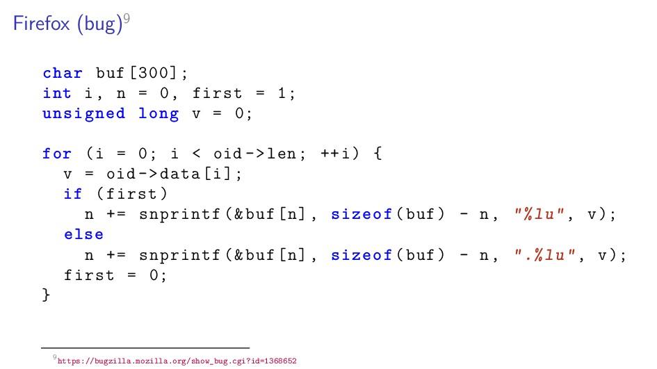 Firefox (bug)9 char buf [300]; int i, n = 0, fi...