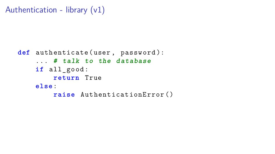 Authentication - library (v1) def authenticate(...