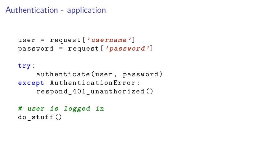 Authentication - application user = request['us...