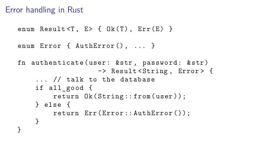 Error handling in Rust enum Result <T, E> { Ok(...