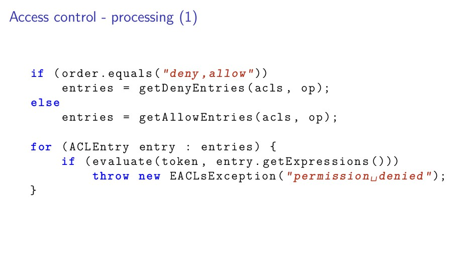Access control - processing (1) if (order.equal...
