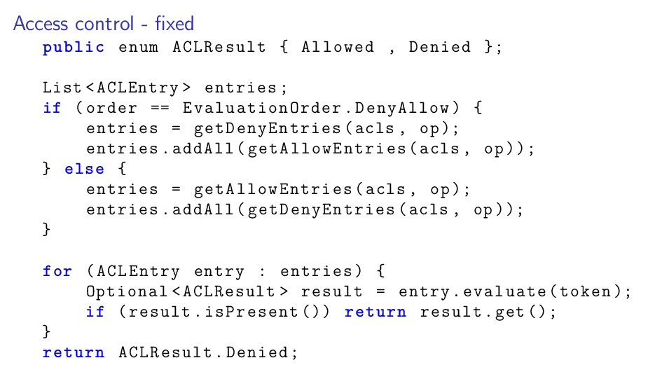 Access control - fixed public enum ACLResult { A...