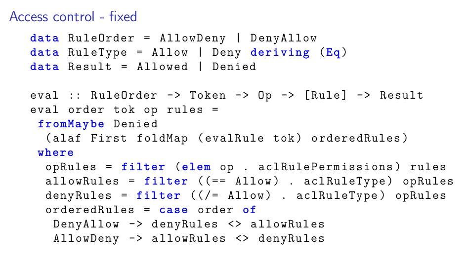 Access control - fixed data RuleOrder = AllowDen...