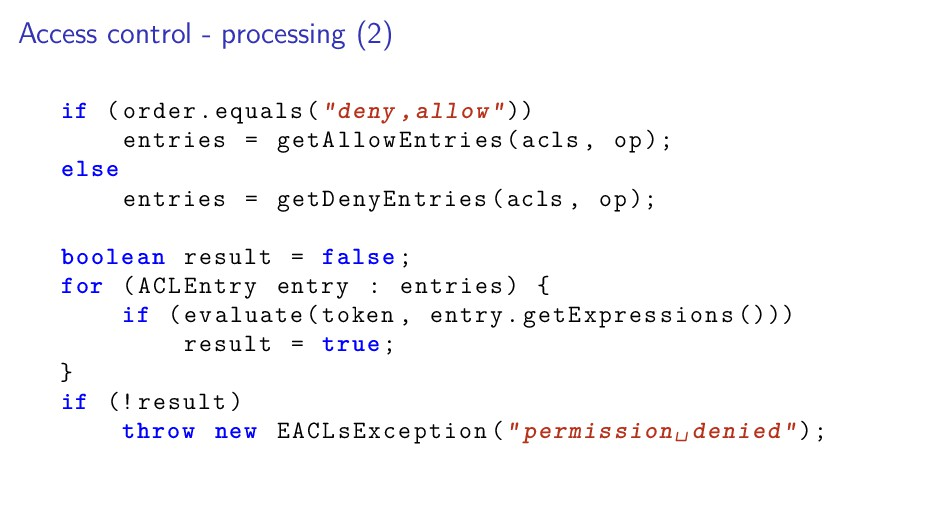 Access control - processing (2) if (order.equal...