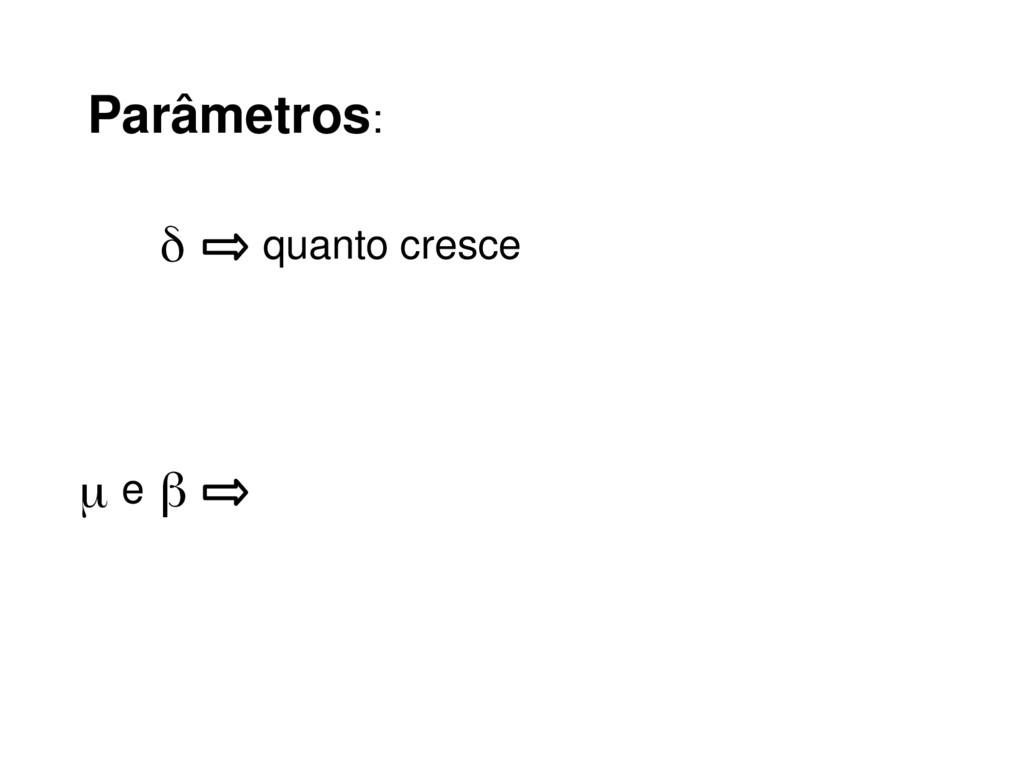 Parâmetros: δ quanto cresce β μ e